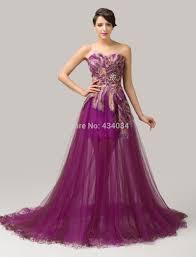 peacock pattern beaded sweetheart purple prom dresses tulle