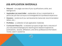j ob a pplications u2013 l etters and r ésumés job application