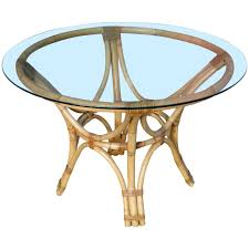 Round Glass Top Dining Room Tables by Restored Rattan Bentwood Dining Table With Round Glass Top For