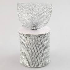 4 glitter diamond mesh ribbon silver 10 yards rm937426