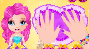 baby barbie glittery nails makeup baby cartoon games