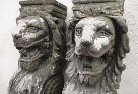lion statues pair of vintage lion statues corbels 54 omero home