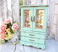 furniture mint green jewelry armoire mirror with double door and
