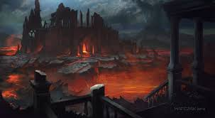 ruins city decay dark fire halloween hell fantasy places ruins