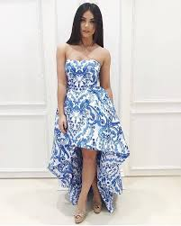 aliexpress com buy strapless high low printed cheap juniors prom