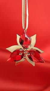 swarovski swarovski ornament poinsettia gold tone