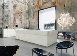 exquisite contemporary reception desk and cabinets in bright