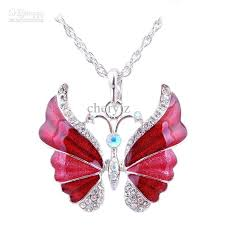 long butterfly necklace images Wholesale women colorful butterfly necklaces pendant silver plated jpg