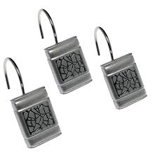 bath sinatra rectangular resin shower hooks 12 pack silver bath
