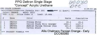 ppg paint code for allis chalmers yesterday u0027s tractors
