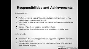 Cost Accountant Resume Sample by Sample Accounting Resume Youtube