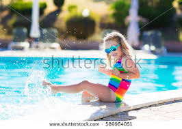 Outdoor Swimming Pool by Little Playing Outdoor Swimming Pool Stock Photo 589964051