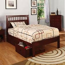 Youth Bed Frames Carus Mission Style Cherry Finish Size Youth Bed