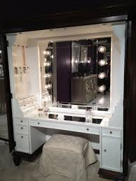 furniture black makeup table with lighted mirror and small fabric bench show perfect beauty