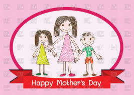 happy mother u0027s day card with mom and children vector image 87626