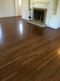 freshly refinished stained floors in progress