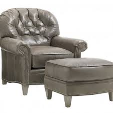 Gray Leather Ottoman Furniture Leather Chair With Ottoman For Cozy Living Room Design