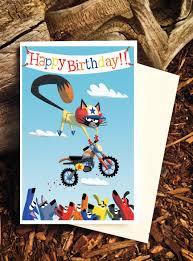 daredevil cat cat birthday card cat themed birthday motorcross