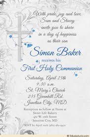 communion invitations for boys holy communion invitation boy s retro gray cross blue