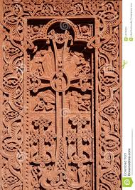 carving christian cross with floral ornament armenia stock