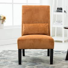 Orange Chair by Roundhill Pisano Fabric Armless Contemporary Accent Chair With