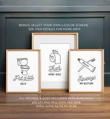 funny wall art bathroom art printable art set of 3