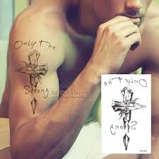 tattoo n 3d wholesale temporary tattoos neck back cross 3d men arm shoulder fake