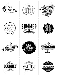 retro labels for summer calligraphic designs vintage ornaments