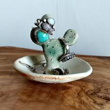 ceramic crystal ring holder images Cactus ring holder ceramic opuntia prickly pear cactus ring dish jpg