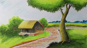 how to draw a village landscape with oil pastels episode 6 youtube
