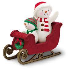 Marvel Christmas Ornaments - snowmen twinkling sleigh ride musical ornament keepsake