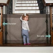 Baby Gate For Top Of Stairs With Banister And Wall Amazon Com The Stair Barrier Wall To Bannister Basic Baby Pet