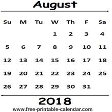 printable calendar 2018 august august 2018 calendar template free printable calendar com