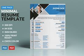 One Page Resume Example by Check Out Minimal One Page Resume Template By Wondershop On