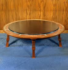 copper top coffee table vintage romweber viking oak round leather top copper bound coffee