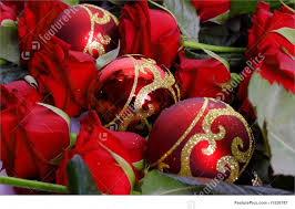 picture of red roses and austrian christmas tree balls