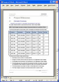 Scope Of Work Template Excel Scope Of Work Template Word Thebridgesummit Co