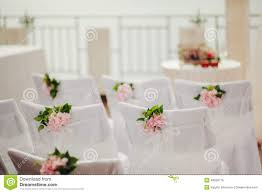 wedding chair covers wedding chair covers with pink flowers stock photo image 48556715