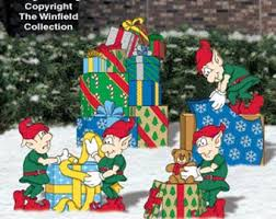 Outdoor Wood Decor Christmas Elves Wrapping Presents Gifts For Santa Wood Yard Art
