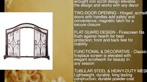 small crest fireplace screen with doors solid wrought iron frame