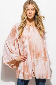 blouse button shop taupe beige tie dye rayon gauze bell sleeve button up