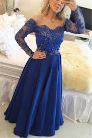 a line long sleeve royal blue 2017 prom dress new arrival beading
