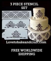 Cake stencil 3 piece set Designer cake stencil Wedding cake