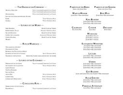 catholic mass wedding program template format of a wedding program wedding programs exles