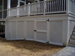 Screen Ideas For Backyard Privacy by Vinyl Privacy Lattice Screen Under Deck W Gate Outdoor