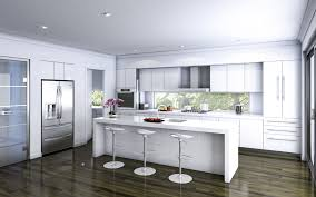 concrete countertops white kitchen island with stools lighting