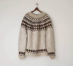 1970s wool sweater vintage oversized handknit fair