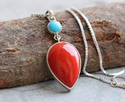 coral necklace silver images Buy turquoise and coral necklace turquoise silver pendant jpg
