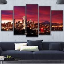 Home Decor Seattle Home Decor Canvas Prints Painting Modular Wall Tower Poster 5