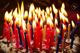 birthday cake candles birthday cake with the lot of burning candles stock photo picture